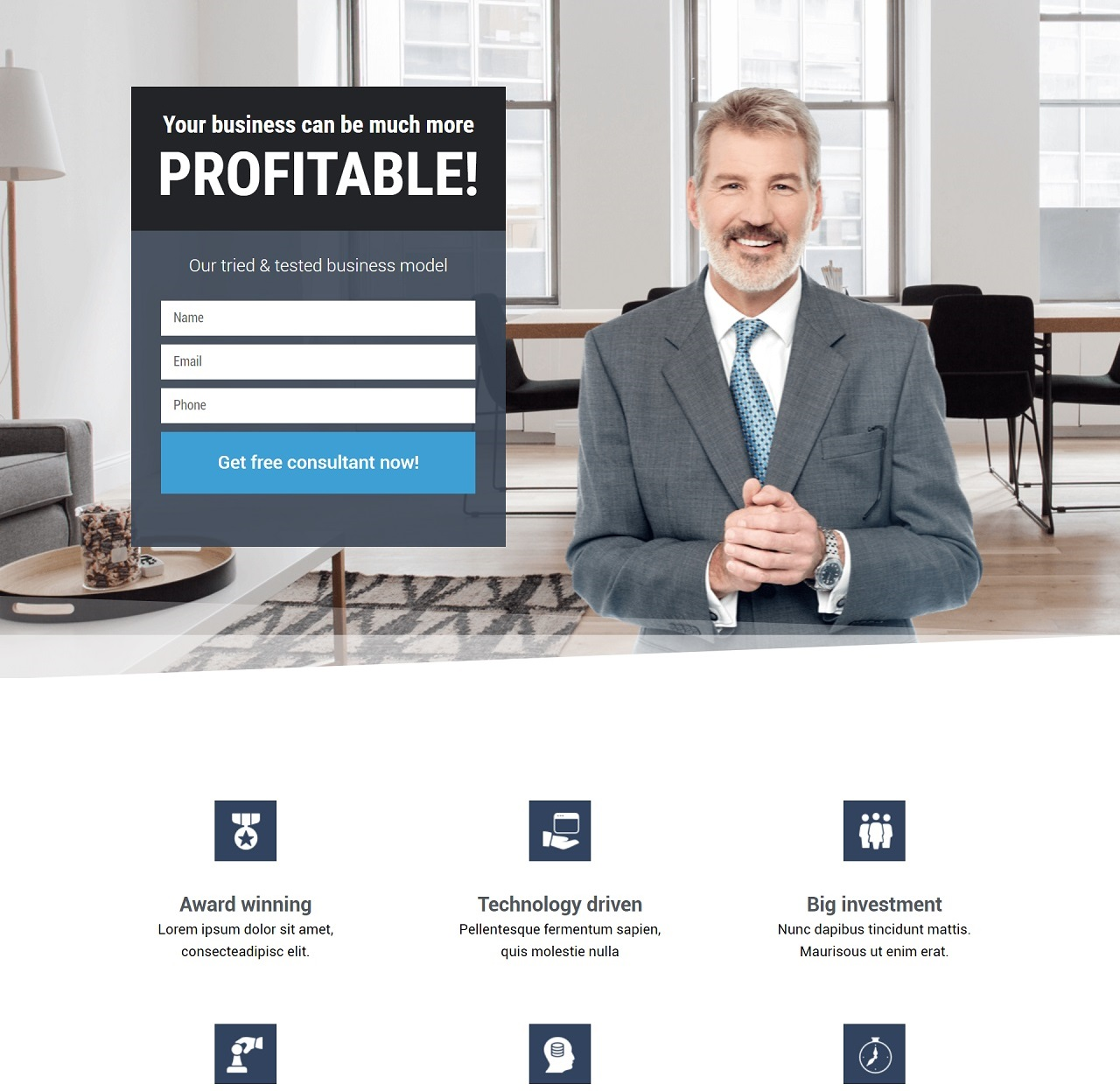 Business Consultant Landing Page Design